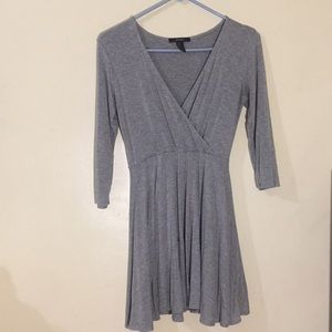 Gray 3/4 Sleeved Faux Wrap Front Skater Dress